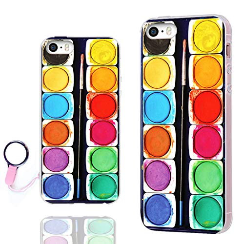 ChiChiC iPhone 5S Case,iPhone 5 case,iPhone SE case, 360 Full Protective Shockproof Stylish Slim Flexible Soft TPU Artist Design Cover Cases for iPhone 5 5g 5S SE,Funny Colorful Watercolor Paint Box