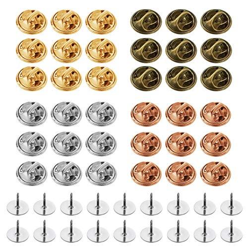150 Stück Pin Backs,Schmetterling Krawatte Reißzwecken Pin Rücken Ersatz mit Leeren Pins für DIY Schmuck Machen(Vier Farben)