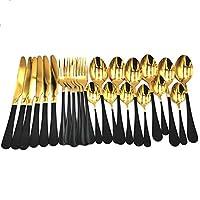 ペイント食器セット、24ピースステンレススチールカトラリーボックスフォークナイフフォークスプーンキッチンホームパーティーイベントホリデー用品 (Color : Black golden 24pcs)