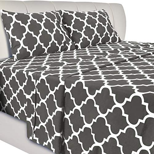 Utopia Bedding Printed Bed Sheet Set - 4 Piece Microfiber Bedsheet Set (King,...
