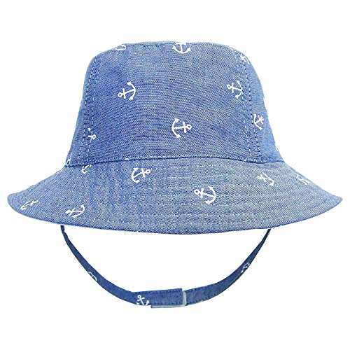 ANIMQUE Baby Kinder Fischerhut UV Schutz Baumwolle Sonnenhut Niedlich Ankermotiv Sommer Frühling Urlaub Hut Denimblau 2-4 Jahre, Kopfumfang 52cm XL