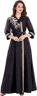 فستان بلوسوم الاكثر مبيعا بتصميم روب اسلامي طويل برقبة مثيرة على شكل V ومزين بنقش زهور وريش بلون اصفر واخضر للنساء