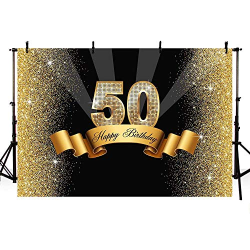 MEHOFOTO Glitter Gold and Black Photo Studio Booth Background Adult Happy 50th Birthday Party Decorations Banner Backdrops for Photography 8x6ft