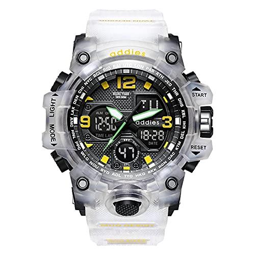 GJPSXTY Relojes Militares para Hombres Reloj Deportivo electrónico Impermeable de 50 m con cronómetro, Alarma, retroiluminación LED, Reloj de Pulsera Digital de Doble Pantalla para Correr Nada Clear