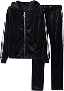 Women Velour Sweatsuit with Pockets Side Stripe Long Sleeve Zip Sweatshirt Hoodies and Long Pants Sets Tracksuit for Fall Winter