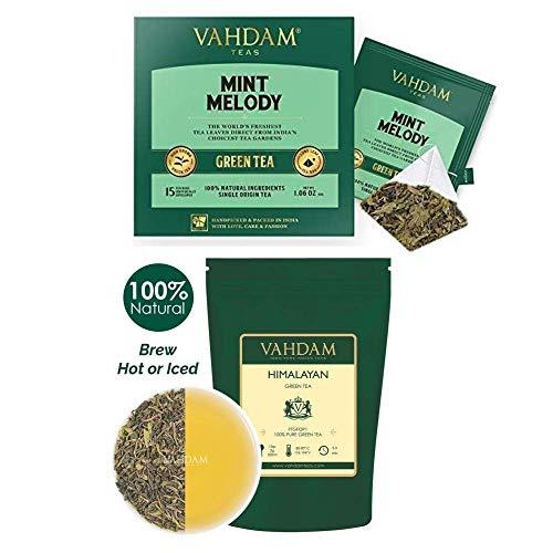 VAHDAM, Green Tea Wellness Kit I Himalayan Green Tea Leaves (3.53oz) + Mint Melody 30 Green Tea Bags I POWERFUL ANTIOXIDANTS, 100% Natural Ingredients | VALUE PACK | Makes 80 Cups
