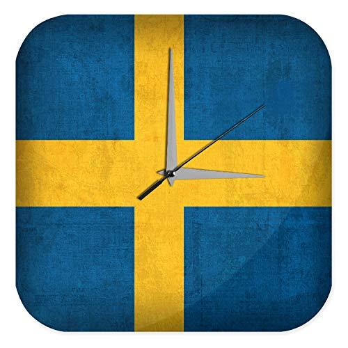 LEotiE SINCE 2004 Wanduhr mit geräuschlosem Uhrwerk Dekouhr Küchenuhr Baduhr Welt Reise Schweden Flagge Wand Deko Uhr Vintage Retro