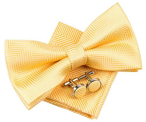 Retreez Herren Gewebte vorgebundene Fliege Fischgrätmuster Gestreifte 13 cm und Einstecktuch und Manschettenknöpfe im Set, Geschenkset, Weihnachtsgeschenke - gelb