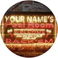 Personalized Your Name Est Year Theme Pool Room Rack'em Club Dual Color LED看板 ネオンプレート サイン 標識 赤色 + 黄色 600 x 400mm st6s64-py1-tm-ry