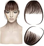 Frange a Clip Cheveux Naturel (Volume Léger) Extension Cheveux a Clip Vrai Cheveux Humain - #02 Châtain Foncé