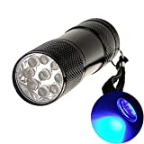 eMart Cheap Portable Mini Led Flashlights 9 LED Bulb UV Ultra Violet Flash light Torch for Money Checking 3 x AAA Battery (Not Included)
