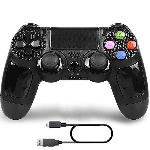 Kabelloser Controller, kompatibel mit PS 4 Play Station 4, aufladbare Fernbedienung, Gamepad mit USB-Kabel (schwarz)