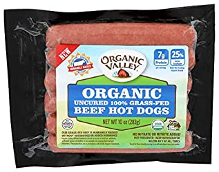 Organic Valley, Uncured Organic 100% Grass-fed Beef Hot Dogs, 6 pack, 10 oz