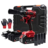 Toolman Rechargeable Lithium-ion cordless Power Impact Wrench kit 1/2' 21V with Drill Set Led Light Free Case & Work Gloves (2 Batteries)