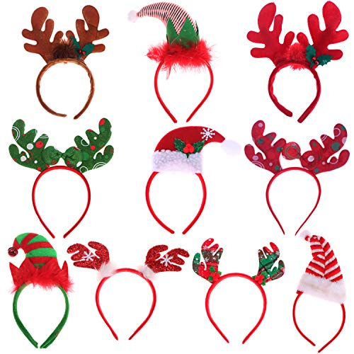 10 Packs Christmas Headbands Different Designs Reindeer Antlers Headbands Unicorn Horn Headbands Christmas Hats Headband Christmas Decoration Gifts for Christmas Costume Holiday Party