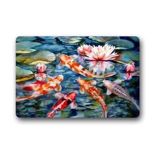 Klotr Tapis De Bain, Water Lily Koi Fish Pond Custom Door Mats Indoor Outdoor House Doormat