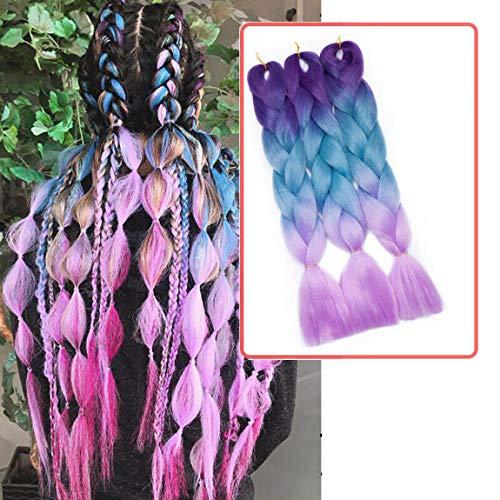 Ombre Braiding Hair Extensions Flechthaar Jumbo Zöpfe Haar Synthetische Haarverlängerung Braids Haarteil 24 inch (60 cm) 300g / 3Pcs Lila bis seeblau bis hellviolett