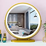 Specchio da trucco con rotazione a 360 gradi, con pulsante touch e cornice in metallo, 3 colori di luce e luminosità dimmerabile, 50 cm, con spina per tavolo da toeletta, studio, hotel