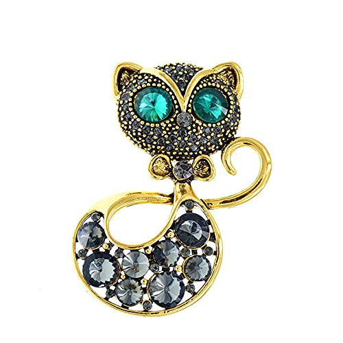 COLORFULTEA Broche De Gato Negro con Diamantes De Imitación, Broche De Ojo Verde, Broches De Diseño De Animales para Mujer, Joyería De Moda, Estilo Vintage