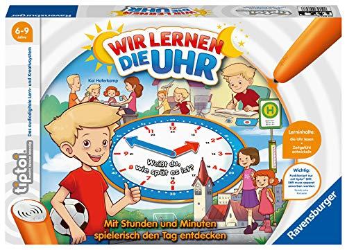 Ravensburger tiptoi Wir lernen die Uhr Spiel, ab 6 Jahren, Spielerisch die Uhr lernen mit dem interaktiven Brettspiel und einstellbarer Uhr