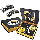 Dual Magnetic Lashes, Magnetic Eyelash Kit without Eyeliner, Reusable Magnetic eyelashes, 0.2mm Ultra Thin Magnet, Lightweight & Waterproof - Natural & Dramatic False Eyelashes With Tweezers