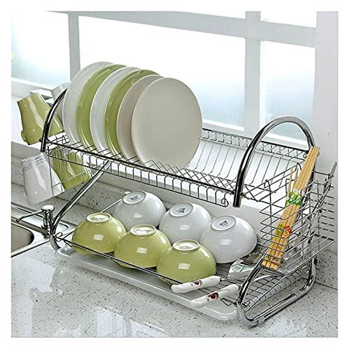WenJiaShanGDSH Prima Amplio Decking Secking Drenador de Taza de 2 Niveles Titular de colador Bandeja Acero Inoxidable Accesorios de Cocina para Cocina (Color : Silver)