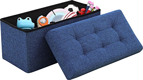 Ornavo Home Foldable Tufted Linen Large Storage Ottoman Bench Foot Rest...