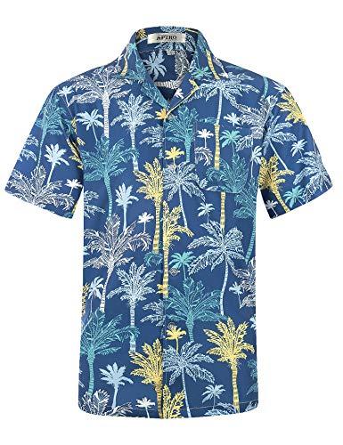 APTRO Herren Hemd Strandhemd Hawaiihemd Kurzarm Urlaub Hemd Freizeit Reise Hemd Party Hemd, Palme Blau, M