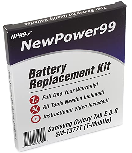 Battery Kit for Samsung Galaxy Tab E 8.0 SM-T377T (T-Mobile) with Tools, Video and Battery from NewPower99