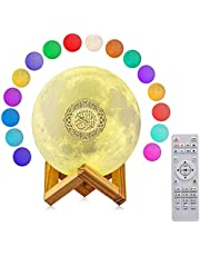 [2021 New] Portable Bluetooth Speaker, 4 in 1 Quran Speaker with 16 Colors 3D Print Moon Lamp Night Light, Quran Recitations and Song FM Broadcast Decorative Stand Remote & Touch Control Night Light