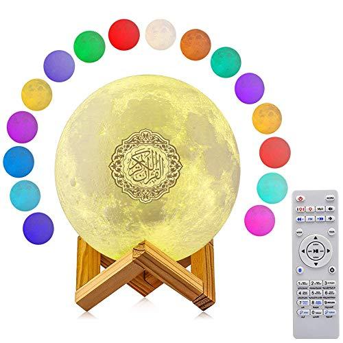 3D Quran Smart Touch Moon Lights, 16 colores LED lámpara Bluetooth altavoz con control remoto recargable juego de tiempo, multi idioma lámpara de luna pequeña altavoz inalámbrico Quran