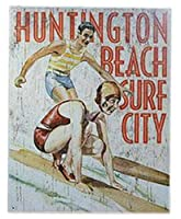 アメリカ雑貨 ブリキ看板 屋内用 ヴィンテージ風 レトロ風 アメリカン雑貨 Surfingサーフィン Huntington Beach