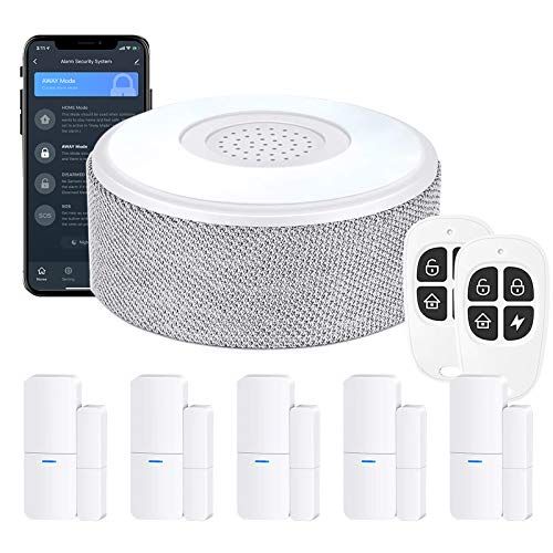 WiFi Door Alarm System(2nd Gen), Smart Home Alarm Security System DIY, with Phone Alert, 8 Pieces-Kit (Alarm Siren, Door Window Sensors, Remotes), Work with Alexa, for House, Apartment, by tolviviov