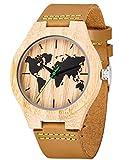Reloj de Madera de Cuero, Relojes de brújula de bambú Hechos a Mano MUJUZE, Relojes de Pulsera para Hombre con Correa de Vaca marrón (Map Bamboo)