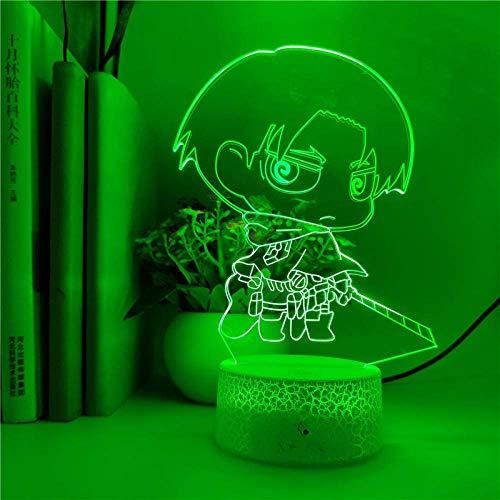 Lámpara de ilusión 3D Luz de noche LED Control inteligente Anime Q.Ver Attack On Titan Eren Jaeger para chico Regalo de cumpleaños Decoración de fiesta Lámpara de mesa
