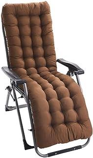 JRMU High Back Chaise Lounger Cushion with Ties, 61-inch, Thick Patio Chaise Lounger Cushion Quilted Sofa Cushioning for Recliner Long Armchair Garden-Brown 61x19x3inch
