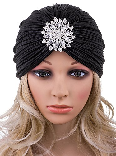 VIJIV Women's Vintage Lurex Knit Turban Beanie Hats Headwraps for 1920s Cocktail Party Black