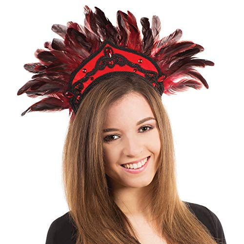 Bristol Novelty - Tocado de plumas para disfraz de carnaval (Tamao nico) (Rojo/Negro)