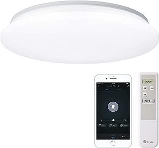 【+Style ORIGINAL】スマートLEDシーリングライト 3200lm シーリングライト スマート 調光 6~8畳 リモコン付き 常夜灯 昼白色 日本メーカー製 Amazon Alexa/Google Home 対応