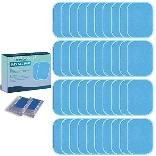 KEAWEO EMS Gel Pad 40 PCs, Ersatz Gel Blatt Ersatz Pad EMS Muskelstimulator Ersatzteile für EMS Trainingsgerät Bauchmuskeltrainer, Elektrischer Muskelstimulation (2 PCs/Packung, 20 Pakete)