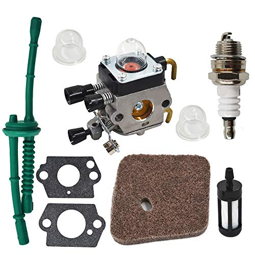 ALL-CARB C1Q-S186 Carburetor Replacement for Stihl FS45 FS46 FS46C FS55 FS55R FS55RC FS38 FS45C String Trimmer Weed Eater FC55 Edger C1Q-S186A C1Q-S186B 4140-120-0619 with Air Filter Tune Up Kit