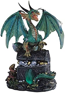 StealStreet SS-G-71353, Green Dragon Standing on Treasure Chest Collectible Figurine Statue,