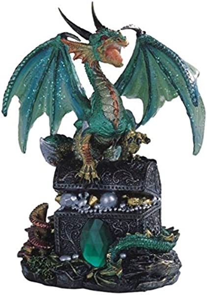 StealStreet SS G 71353 Green Dragon Standing On Treasure Chest Collectible Figurine Statue