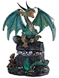 StealStreet ss-g-71353dragón de pie en Cofre del Tesoro Figura Coleccionable Estatua, Verde