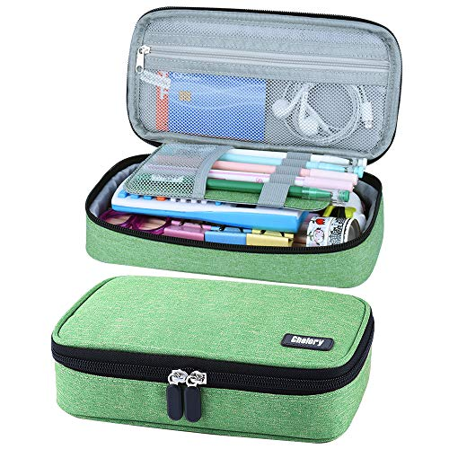 Pencil Case Big Capacity Pen Case Pencil Bag Pouch Pen Pencil Marker Holder Desk Stationery Organizer Cosmetic Makeup Bag with Large Storage for Teen Boys Girls Middle High School & Office (Green)