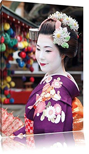 Anmutige Geisha mit Fächer , Format: 80x120 auf hochkantiges Leinwand, XXL riesige Bilder fertig gerahmt mit Keilrahmen, Kunstdruck auf Wandbild mit Rahmen, günstiger als Gemälde oder Ölbild, kein Poster oder Plakat