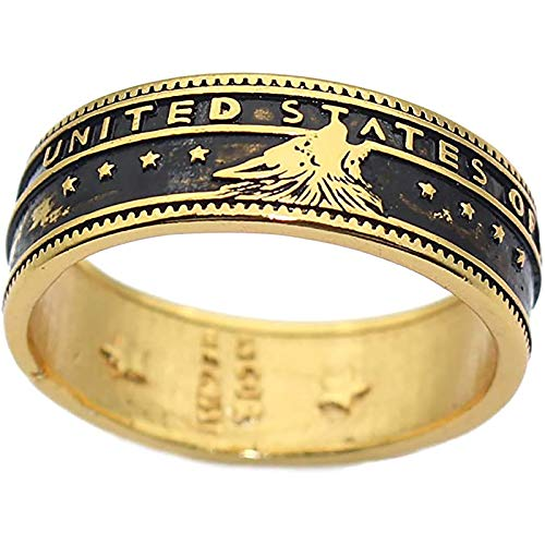 LH&BD Anillo de Lobo para los Hombres Norse Viking Head Vintage Totem Amuleto Gold Punk Rock Animal Jewelry,8
