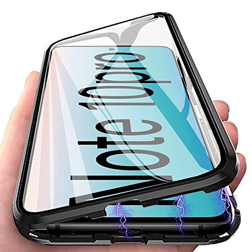 Funda para Xiaomi Redmi Note 10 Pro Carcasa Adsorción Magnética, E-Lush Funda 360 Grados Protección Transparente Caso Metal Flip Cover Frontal y Posterior Vidrio Templado Anti Choque Case, Neg