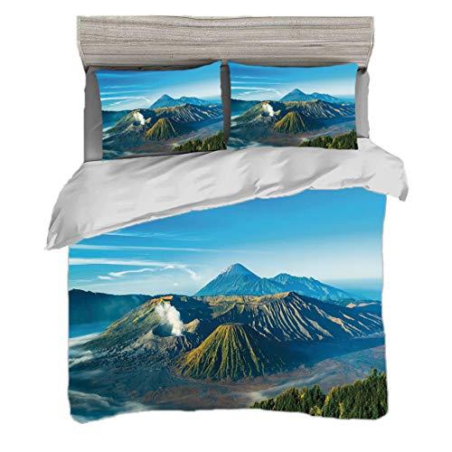 Juego de funda nórdica (220 x 240 cm) con 2 fundas de almohada Volcán Ropa de cama con impresión digital Volcán Monte Bromo durante el amanecer en Java Oriental Indonesia Naturaleza majestuosa, azul c