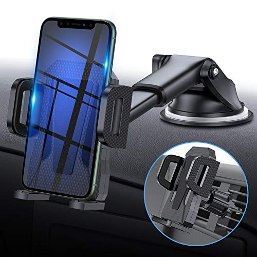 MIRACASE Car Phone Mount Universal 2-in-1 Car Phone Holder with Dashboard Air Vent Windshield Cell Phone Holder with Telescopic Arm & Dashboard Pad Fit for iPhone Samsung LG Sony Huawei and More (Phone Case That Makes Iphone Into Android)